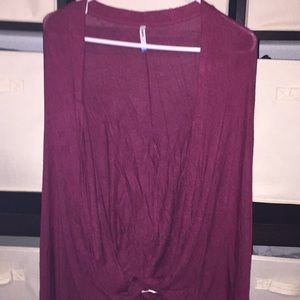 Oversized & Comfy, Burgundy, Long Sleeve Cardigan